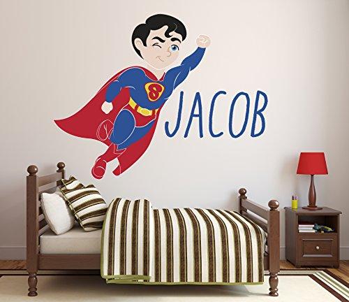 Custom Name Superman Wall Decal Baby Boy Kids Decor Personalized Nursery Gift Vinyl Art