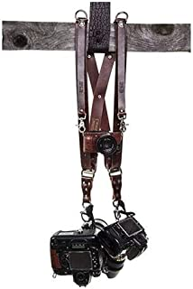 product image for HoldFast Gear Money Maker Water Buffalo Leather Medium 2-Camera Harness, Burgundy