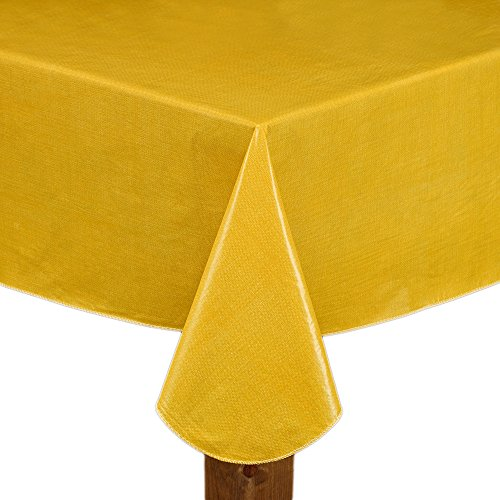 Lintex Cafe Deauville Gold 60x120 Oblong (Rectangle) Vinyl Tablecloth (Yellow Solid Vinyl)