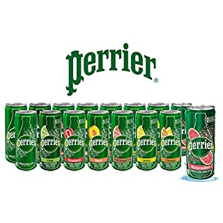 Perrier Flavored Carbonated Mineral Water - Sampler Variety Pack, All Flavors, 8.45 fl oz. Slim Cans, Natural Sparkling Drinking Water | 8 Flavors - Pack of 16