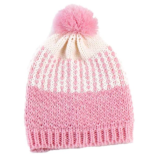 coper-fashion-winter-parents-child-knitted-wool-warm-hat-baby-pink