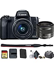 $644 » Canon EOS M50 Mirrorless Vlogging Digital Camera with 15-45mm Lens + Camera Bag + 64GB Memory Card + Cleaing Set + More (International Model) (2680C011) - Starter Bundle (Renewed)