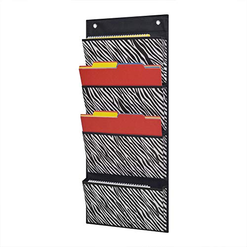 Zebra Metal Wall (Eamay 4 Pocket Over The Door Wall Mount Hanging File Organizer Office Supplies Storage Hanging Folder Organizer For School Paper, Office Contract,Planner (Zebra Pattern))