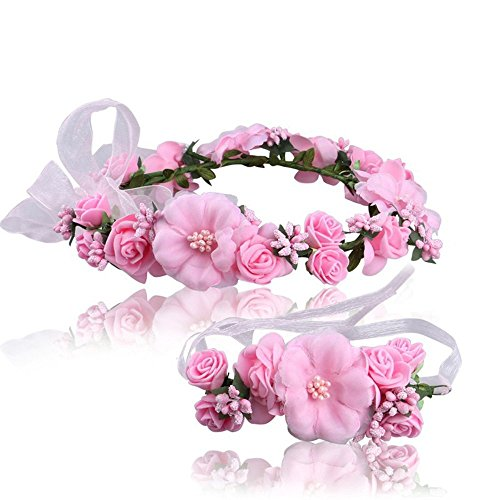 Women Pink flower Wreath Bracelet 2pcs adjustable ribbon