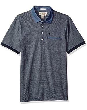 Men's Ss Stripe Polo W/ Chambray Collar