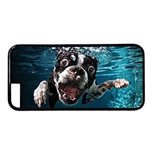 iCustomonline Boston Terrier is Swimming PC Black Skin Hard Case Cover Design for iPhone 6 (4.7 inch)