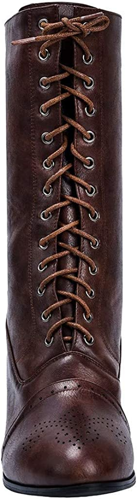 cobcob Clearance Shoes Womens Middle Tube Boots,Ladies Riding Boots Round Toe Punk Med Heels Retro Lace Up Ankle Boots Shoe