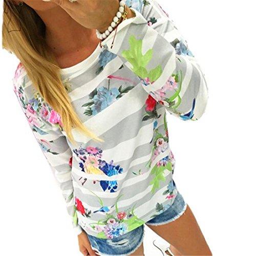 HANYI Women Striped Floral Print Sweatshirt (XL, Gray)
