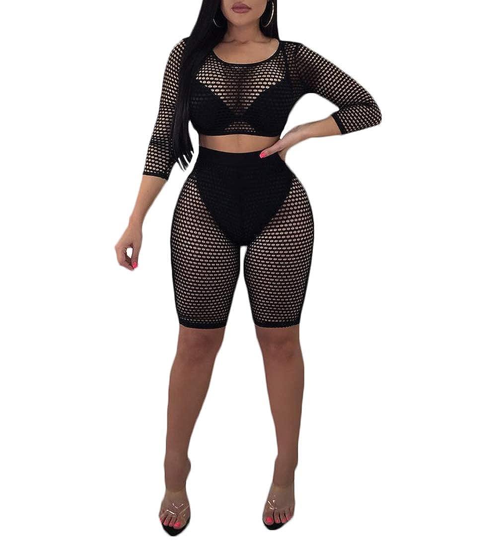 b87f657ea2f3d Amazon.com: Women Sexy Two Piece Fishnet Swimwear Cover Ups Mesh Crop Top  High Waist Shorts Set: Clothing