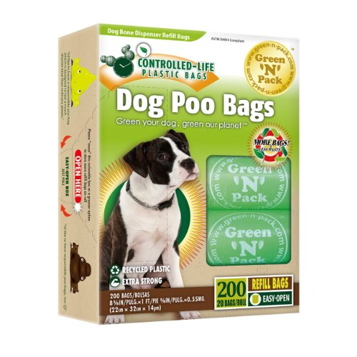 Green N Pack Dog-Waste Refill Bags Compact Refill Packs 200 Bags 10 Rolls (More Bags & Less Waste) not 200 Bags in a Re-closable Box (10 Rolls)