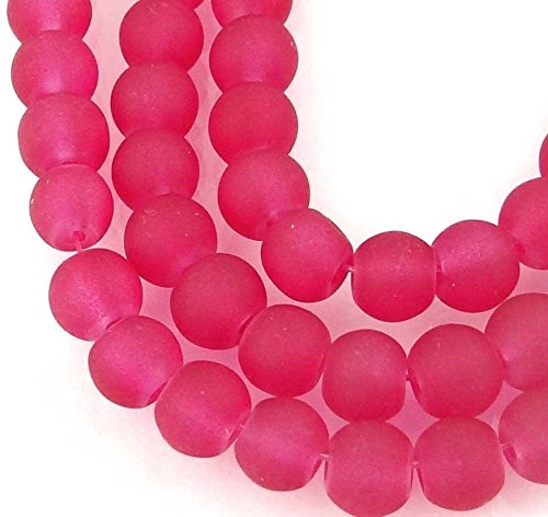 50 Czech Frosted Sea Glass Round/Rocaille Beads Matte Crimson/Raspberry 6mm, Beading, Jewelry Making, DIY Crafting, Arts & Sewing by Perfect Beeds Store ()