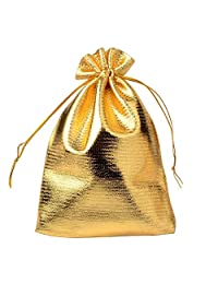 KeyZone 50Pcs Gold Organizer Bags with Drawstring Party Wedding Favor Gift Bags,Earrings Jewelry Bags