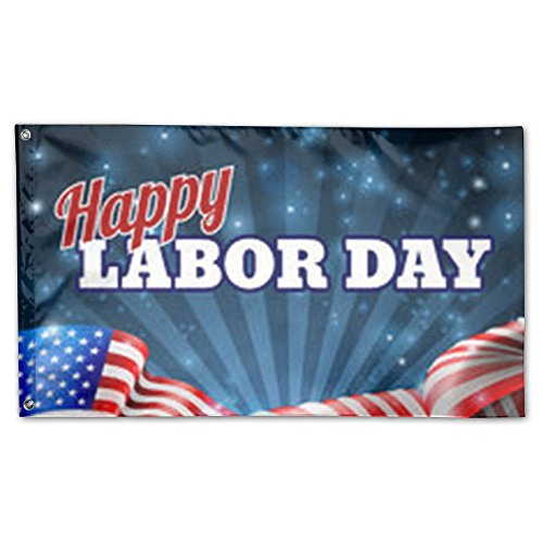 DFGTLY Decorative House Flags -Happy-Labor-Day-American Outd