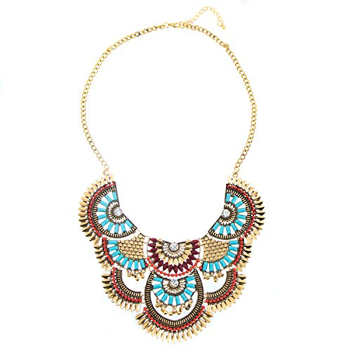 Miraculous Garden Womens Vintage Alloy Silver/Gold Boho Bohemian Necklace Ethnic Tribal Boho Necklace Turquoise Beads Crystal Necklace (Antique - Squash Handmade Blossom Necklace