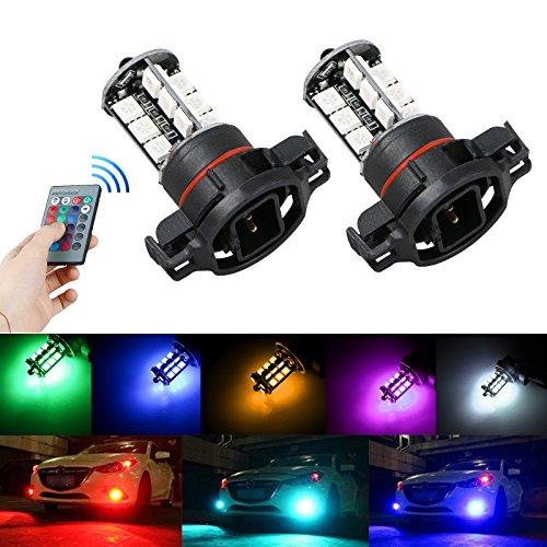 EEEKit 5202 H16 27-SMD IR Remote Multi-Color RGB LED Bulbs Car Driving DRL Fog Lights