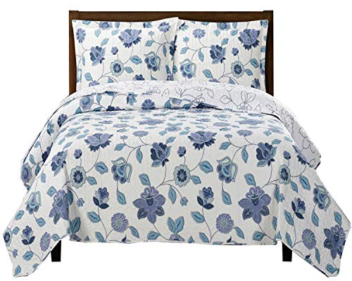 Miranda King / California-King Size, Over-Sized Coverlet 3pc set, Luxury Microfiber Printed Quilt by Royal Hotel