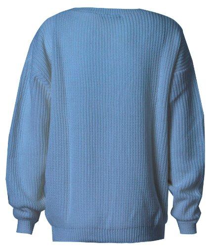Fast Ample Pull Fashion Longues Bleu ciel Femme Manches Tricot OrOAg6