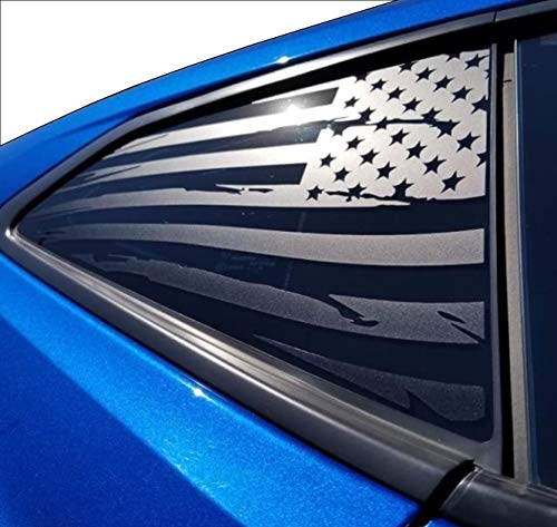 (Elevated Auto Styling - Chevy Camaro Distressed American Flag Rear Quarter Window Decal Pair, Matte Black (2016-2018))