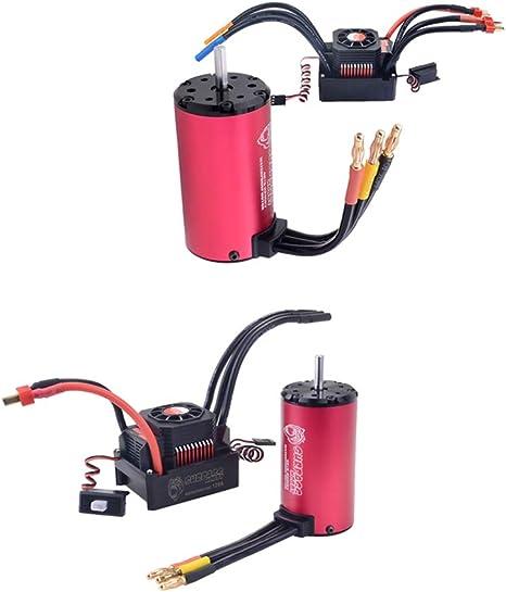 chiwanji 4076 2000kv Nero A 2250kv Motore Brushless ESC Sensore 4 Poli 150A per 1//8 RC Modello Car Rosso