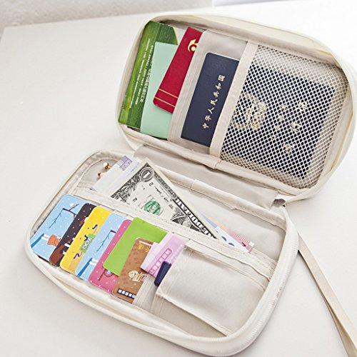 Travel Zipper Bifold Credentials Holder Passport Cards Cover Case Coin Change Carrying Wallet