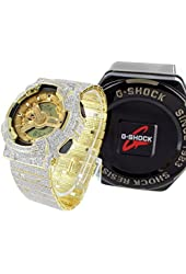 Authentic G-Shock Watch G100-110 For Mens with Yellow Gold Face Completely Iced Out 16.5Ct