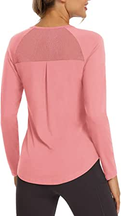 Mippo Long Sleeve Workout Shirts for Women Mesh Back Yoga Clothes Athletic Tops