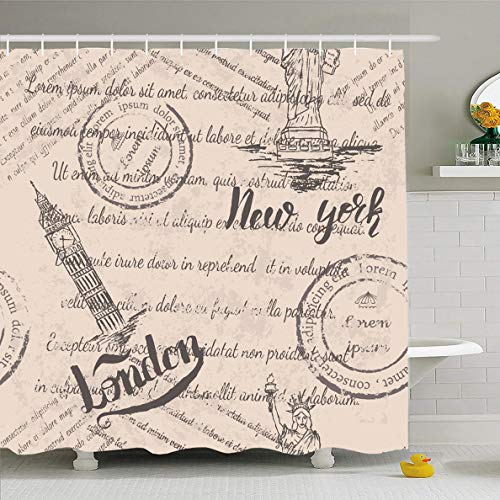 Ahawoso Shower Curtain 66x72 Inches Ny Travel Faded Text Stamps Statue Liberty Lettering London City Island America Design Cityscape Waterproof Polyester Fabric Set with Hooks]()