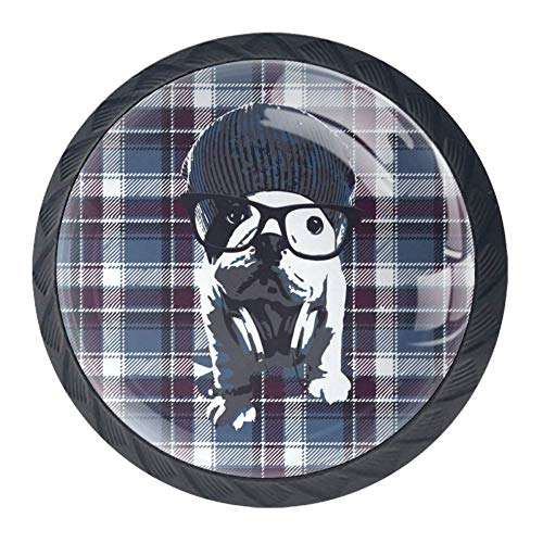 (Dog with Glasses in Plaid Door Drawer Pull Handle Furniture Decoration for Kitchen Cabinet Dressing Table)