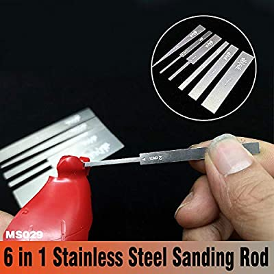 Gundam Military Model 6 in 1 Stainless Steel Sanding Rod Fine polishing Article Hobby Grinding Tools: Toys & Games