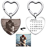 Fanery Sue Custom Calendar Photo Keychain Personalized Engraved Special Day Anniversary Memorial Gift Heart Keyring ID Key Tag(Heart)
