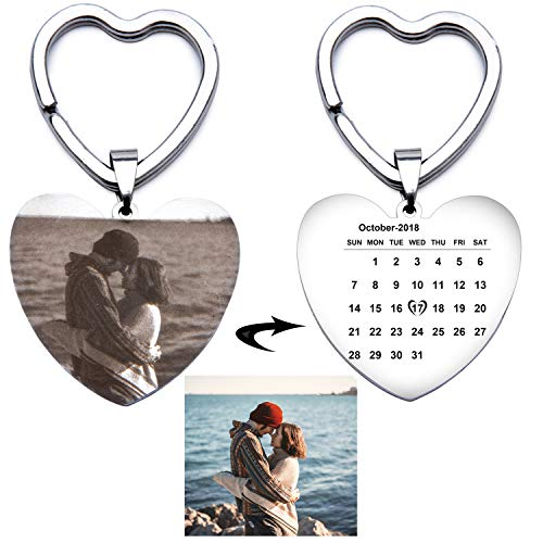 Fanery Sue Custom Calendar Photo Keychain Personalized Engraved Special Day Anniversary Memorial Gift Heart Keyring ID Key -
