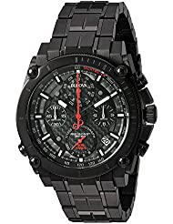 Bulova Mens Precisionist Quartz Stainless Steel Watch, Color:Black (Model: 98B257)
