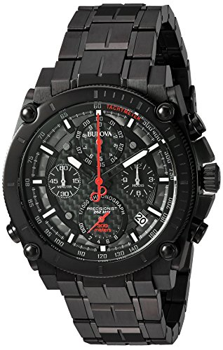 Bulova Men's 'Precisionist' Quartz Stainless Steel Automatic Watch, Color:Black (Model: 98B257)