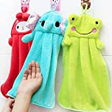 A Little Lemon 3pcs Cute Animal Microfiber Kids Children Cartoon Absorbent Hand Dry Towel Lovely Towel For Kitchen Bathroom Use