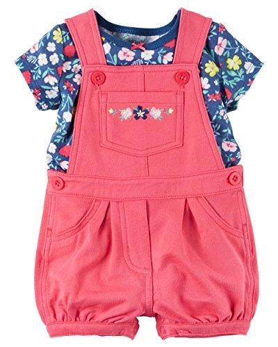 Carter's Baby Girls 2-Piece Top & Shortalls Set (Red) (3 Months)