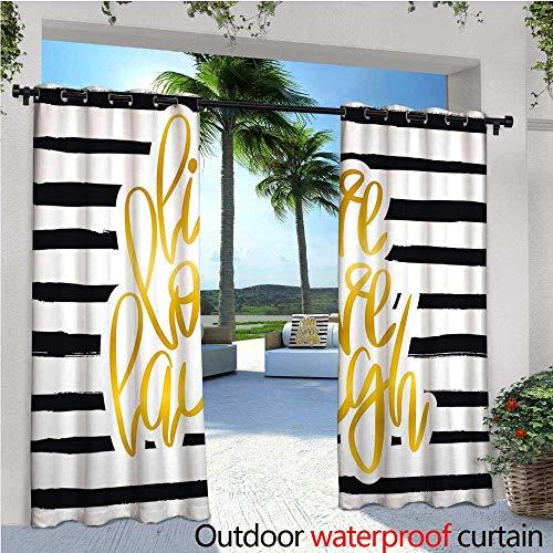 cobeDecor Live Laugh Love Patio Curtains Romantic Design with Hand Drawn Stripes and Calligraphic Text Outdoor Curtain for Patio,Outdoor Patio Curtains W96 x L108 Black White Earth Yellow (Skinny Earth Stripe)