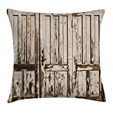 Ambesonne Rustic Throw Pillow Cushion Cover, Vintage House Entrance with Vertical Old Planks Distressed Rustic Hardwood Design, Decorative Square Accent Pillow Case, 18 X 18 Inches, Brown White