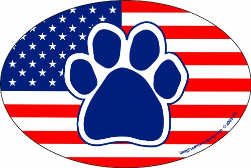 Imagine This 4-Inch by 6-Inch Car Magnet Oval, Paw American Flag ()