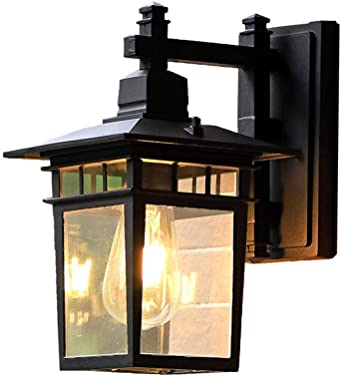 Inicio lámpara de pared exterior ático cocina café patio retro luces led prueba agua óxido pared exterior escaleras pasillo lámparas decorativas@Loft aplique negro Luz De La Pared Al Aire Libre Retro: Amazon.es: