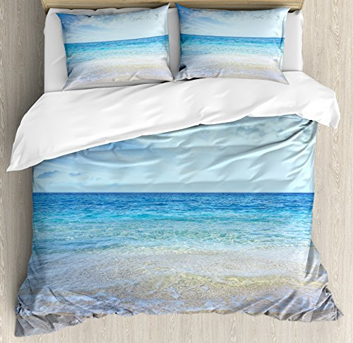 (Ambesonne Ocean Duvet Cover Set King Size, Wavy Crystal Sea and Sky with Clouds at The Sandy Beach Be Grateful to Nature Theme, Decorative 3 Piece Bedding Set with 2 Pillow Shams, Cream Blue)