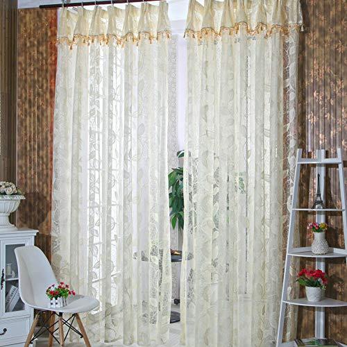 FidgetKute Leaf Tulle Door Voile Window Curtain Drape Panel Sheer Scarf Romantic Room Decor Cream-Coloured One Size