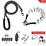 Ewolee Dog Prong Collar, Stainless Steel Training Pinch Collar with Rope Leash and Waste Dispenser Bags, Adjustable Choke Chain Collar with 5 Rubber Caps and 1 Extra Links for Small Medium Large Dogs