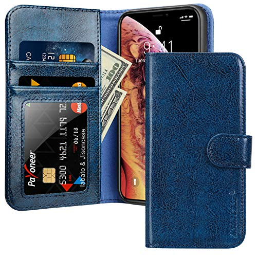 JISON21 for iPhone Xs Case iPhone x Wallet Case for iPhone Xs Leather Cases with Card Holder. (Navy Blue)