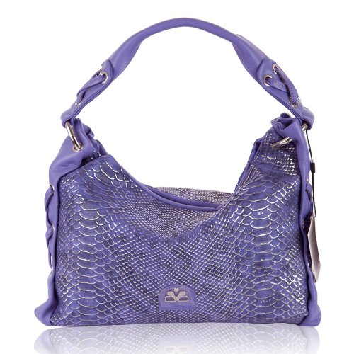 Barbara Milano Italian - BARBARA MILANO Italian Made Violet Snakeskin Print Leather Designer Purse Handbag