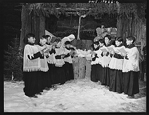 1943 Photo Penasco, New Mexico. The choir of the Catholic church singing Christmas hymns Location: New Mexico, Penasco, Taos County by Historic Photos