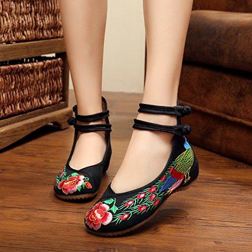 &qq Extremo del viento/del bordado/mujer/zapatos/zapatos/cuñas/tendón de China de primavera/verano/otoño/vintage/moda/color peacock black