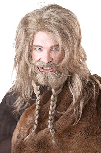 [Mememall Fashion Viking Warrior Costume Wig and Beard Dirty Blonde] (Japanese Beard)