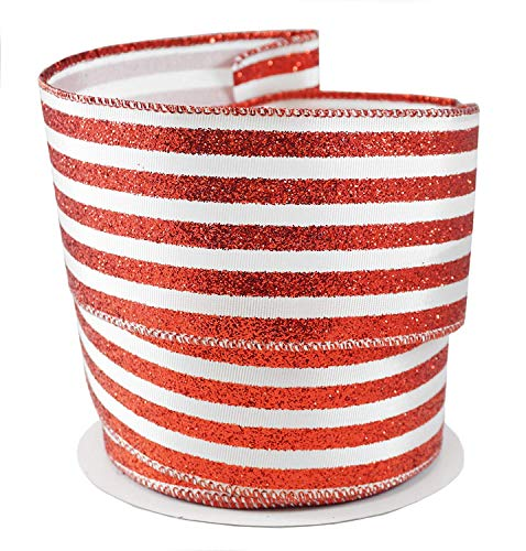 (Peppermint Stripes Holiday Fabric Ribbon #40-2.5