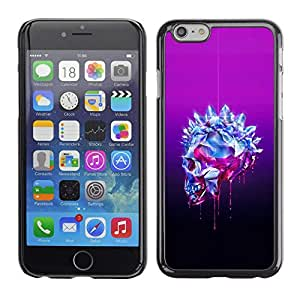 Plastic Shell Protective Case Cover || Apple iPhone 6 Plus 5.5 || Purple Crystal Black Skull Bling Diamond @XPTECH