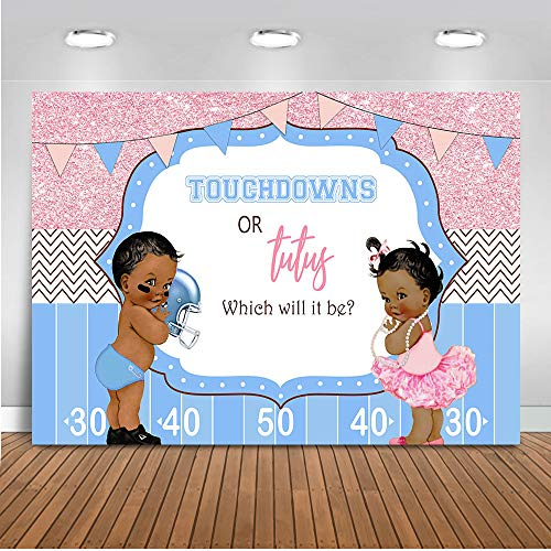 (Mocsicka Touchdowns or Tutus Gender Reveal Backdrop Blue or Pink Photography Background 7x5ft Vinyl Gender Reveal Party Banner)